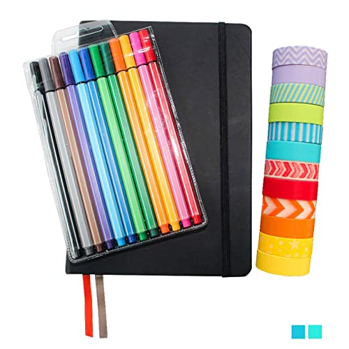 "Bullet Journal Set – Includes Black Hardcover A5 5.7"" x 8.3"" Journal (240 Dotted Pages), 12 Fineliner Pens, 12 Rolls of Washi Tape - Perfect Starter Kit from Wonderful Washi"