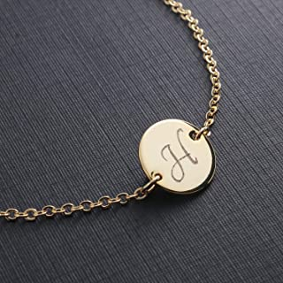 Initial Bracelet Disc Dainty Hand Stamped Machine Engraving Personalized Initial Charms letter Deliate Plate bracelet Best Graduation Day gift