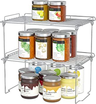 Amazon Com Stackable Cabinet Shelf Kitchen Cabinet Organizers And Storage 2 Pack Pantry Shelves Organizer With Guardrails Design For Safely Storing Kitchen Counter Bedroom Bathroom Accessories Stainless Steel