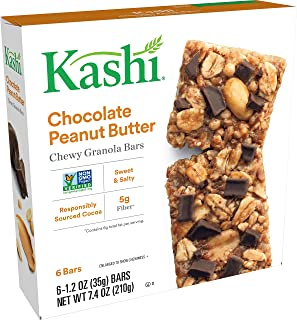 Kashi Chewy Chocolate Peanut Butter Granola Bars - Vegan | Box of 6