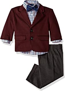 Baby Boys 4-Piece Suit Set with Dress Shirt, Jacket, Pants, and Bow Tie