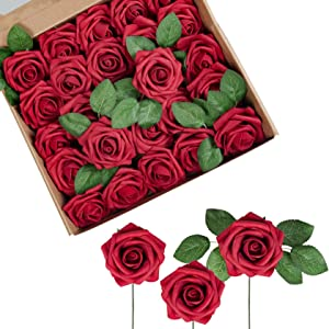 Attmu Artificial Flowers 25 Pcs Fake Roses Real Looking Red Roses Foam Roses with Stems for DIY Wedding Bouquets Centerpieces Arrangements Party Home Decoration