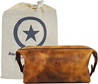 Leather Toiletry Bag for Men | Grooming Travel Kit | With Waterproof Lining | By Aaron Leather Goods (Caramel)
