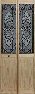 LTL Home Products 851720 Eternity Half Glass Interior Bifold Solid Wood Door, 24 Inches x 80 Inches, Unfinished Pine