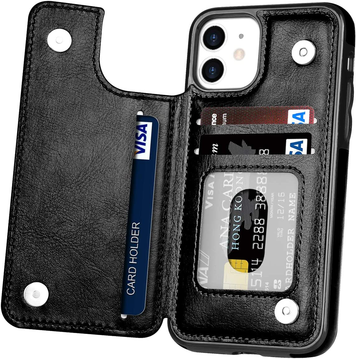 Hoofur Phone Case for iPhone 12 Pro, Wallet Card Holder Slot Folio Slim Fit Flip Protective Shell Compatible with iPhone 12/12 Pro (6.1 inch) 2020 (Black)
