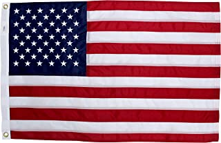 2x3 Ft American Flag | 100% Made in USA | US Flag in Heavy Duty Outdoor Nylon - UV Fade Resistant - Premium Embroidered Stars, Sewn Stripes, and Brass Grommets (2 x 3 Foot)