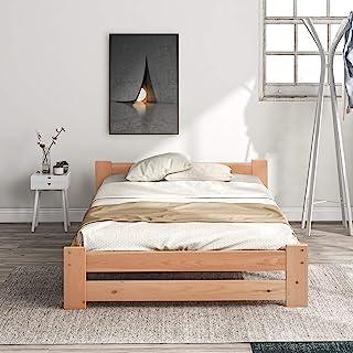 Lit futon solide en bois massif naturel avec tête de lit et sommier à lattes couleur bois (90 x 200 cm)