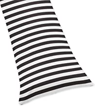 Sweet Jojo Designs Black White Stripe Full Length Double Zippered Body Pillow Case Cover for Paris Collection