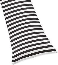 Sweet Jojo Designs Black White Stripe Full Length Double Zippered Body Pillow Case Cover for Paris Collection