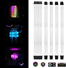 EZDIY-FAB White PSU Extension Kit 300mm with RGB Cable Combs - 24-PIN 6+2-PIN 4+4-PIN with RGB Combs for Cable Management with RF Control