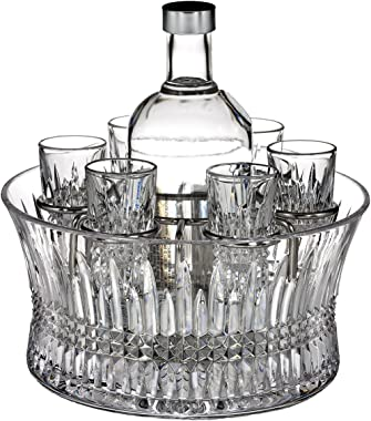 Waterford Crystal, Lismore Diamond Vodka Set in Chill Bowl with Silver Insert