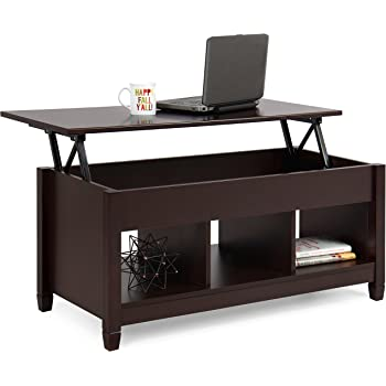 Amazon Com Best Choice Products Wooden Modern Multifunctional Coffee Dining Table For Living Room Decor Display W Hidden Storage And Lift Tabletop Espresso Home Kitchen