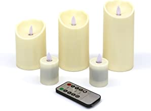 CVHOMEDECO. 5 PCS/Set Dancing Flame Pillar LED Candle with Remote Control, Ivory