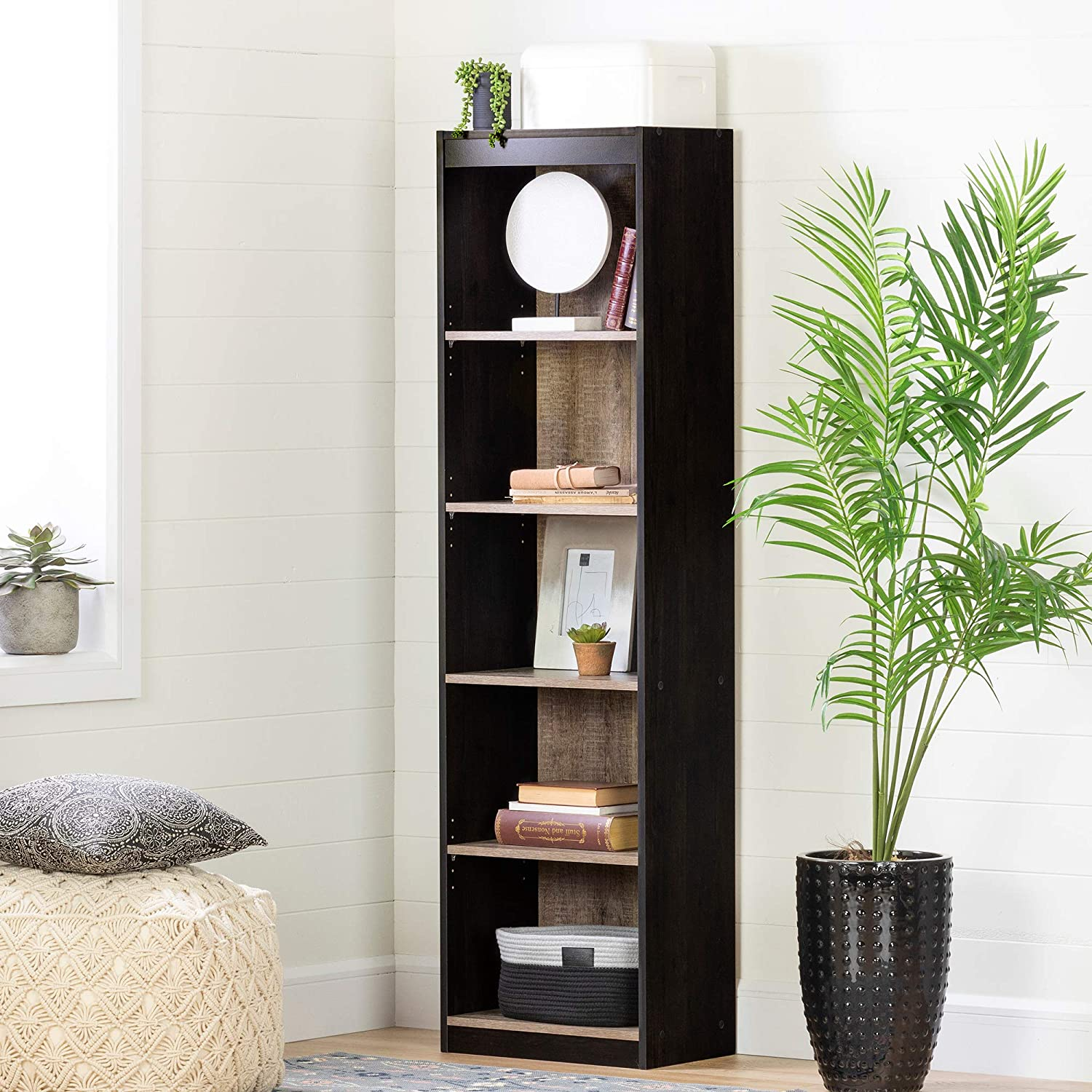 South Shore Furniture Axess 5-Shelf Narrow Bookcase, Weathered Oak and Ebony