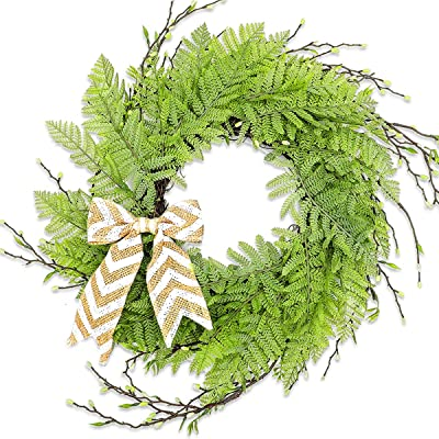 """UNKENBO Door Wreaths for All Seasons - 20"""" Front Door Wreaths for Spring and Summer, Farmhouse Wreaths for Front Door Outside, Artificial Handcrafted Green Wreath Fern Leaf for Decorations"""