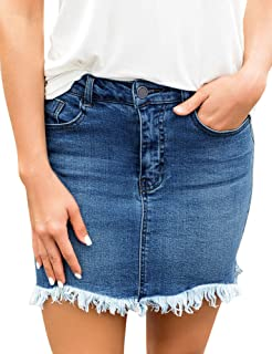 Women's Casual Pockets Frayed Faded Stretch Denim Zip Short Jeans Skirts