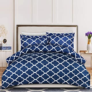 Utopia Bedding 3-Piece Duvet Cover Set – 1 Duvet Cover with 2 Pillow Shams - Soft Brushed Microfiber Fabric - Shrinkage and Fade Resistant - Easy Care (Queen, Quatrefoil Navy)