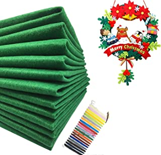 Levylisa 30pcs (12''x12'') Green Felt Sheets, Christmas Green Felt Fabric, Pure Felt, Emerald Green Felt, Felt Square,Christmas Ornaments, Stockings and Wreaths, Holiday Crafts,Felt Fat Quarters