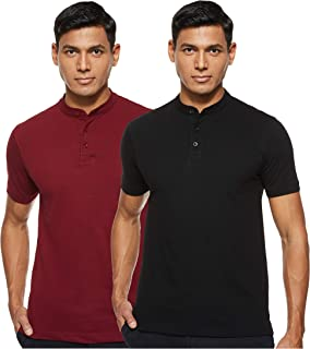 Amazon Brand - Symbol Men's Solid Henley Regular fit Polo (Pack of 2)