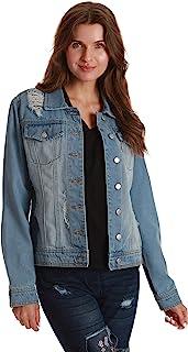 Just Love Denim Jacket for Women Distressed Casual Trucker Jean Jacket