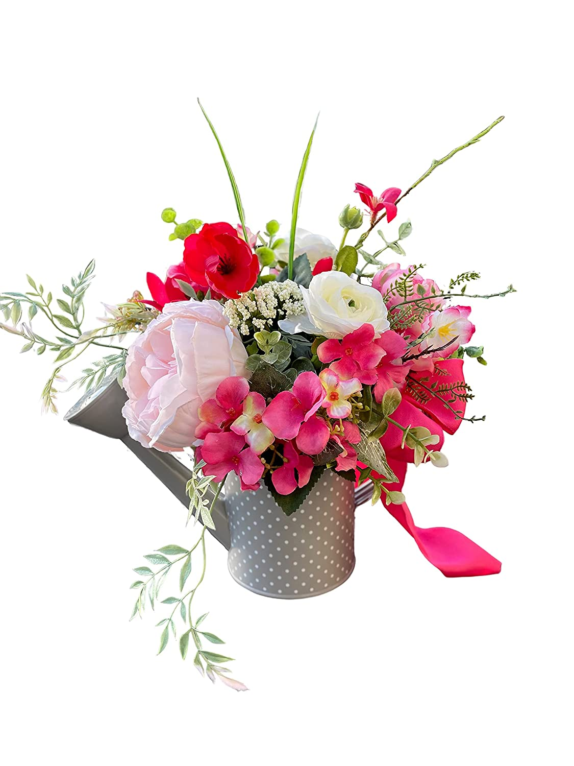 Hot pink Flower Arrangement in Max 62% OFF Tucson Mall Polk-a-Dot Watering Ca Grey White