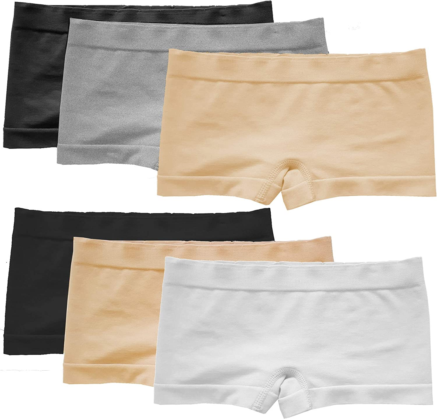Weekly free shipping update Popular Girls' Seamless No Show Solid Boyshorts Pack - 6