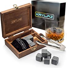 Whiskey Stones Gift Set in Box with 9 Whiskey Rocks – Drink Stones for chilling Whiskey – Whisky Ice Cubes for Drinks – Pouch for Ice Rocks – Tongs for Chilling Stones