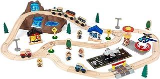 comprar comparacion KidKraft- Juego de tren con vía de madera para niños, vía clásica con accesorios incluidos (61 piezas) Bucket Top Mountain...