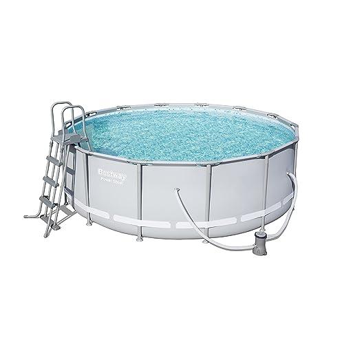 Bestway Power Steel Frame Pool Komplettset rund, mit Kartuschenfilterpumpe, Leiter, Boden- & Abdeckplane, 427x122 cm, grau