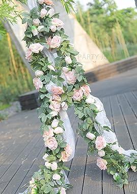 PARTY JOY 2Pcs Flower Garland Fake Rose Vine Artificial Flowers Hanging Rose Ivy Hanging Baskets Wedding Arch Garden Backgrou