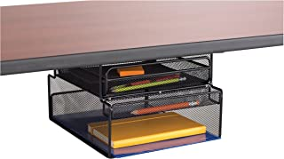 Safco Products 3244BL Onyx Mounted Under-Desk Hanging Storage, Convenient Organization, Ideal for Sit-Stand Workstations, Black