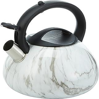 Royalford 3.0Liter Stainless steel Marble Design Whistling kettle, White, RF9668