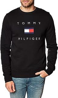 Tommy Hilfiger Uomo Felpa con Bandiera, Nero, XL