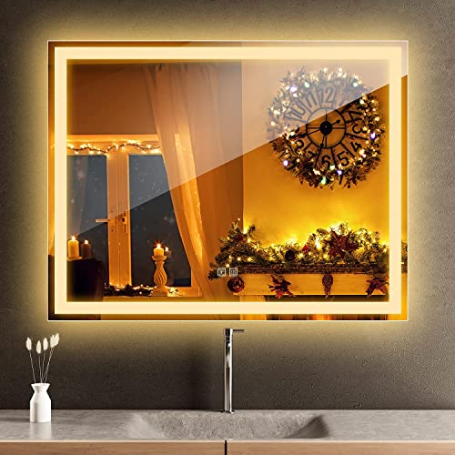 popular ROOMTEC Led wholesale Mirror discount for Bathroom 36x28 Inch,Backlit & Front Lighted,Anti-Fog,Dimmable online sale