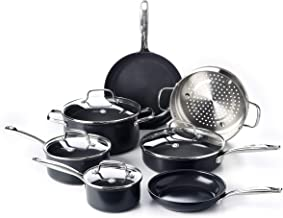 GreenPan Prime Midnight Healthy Ceramic Nonstick, Cookware Pots and Pans Set, 11-Piece, Black