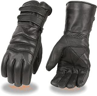 男士优质皮革手套,带双带长款袖口,保暖衬里摩托车手套(黑色) 大 黑色 SH233-BLK-L