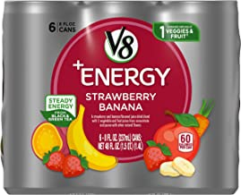 V8 +Energy, Healthy Energy Drink, Natural Energy from Tea, Strawberry Banana, 8 Ounce Can, 6 Count