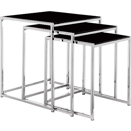 Movian Gurli Tables gigognes, Verre, Noir, 50 x 50 x 55 cm