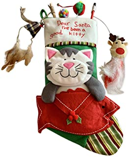 Cat Christmas Stocking Filled with Christmas Cat Toys Gift Set Filled With Quality Interactive Cat Toys Perfect Holiday Gift Set for All Cats Stocking Stuffers Included
