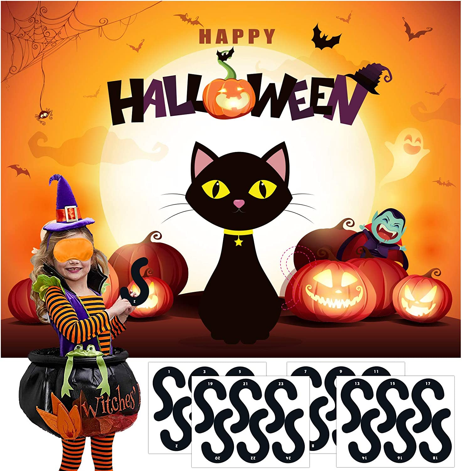 Buy Halloween Games for Kids Pin the tail on The Cat Halloween ...