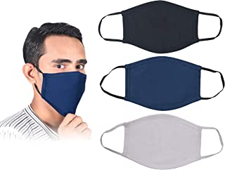 3 Piece Set Pure Cotton Reusable Face Mask - Protective Fabric Face Cover, Washable & Breathable Mouth Mask (Black,White,Blue)