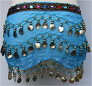 Pilot-trade Lady's Arabic Belly Dance Gold/Silver Coin Belt Hip Scarf Skirt Wrap