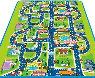 TeFuAnAn プレイマット BPAフリー 折り畳み式 キッズ 遊びマット 滑り止め 優しい肌触り 洗える 面白い 知育 地図 お町マップ 道路 市 部屋