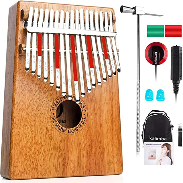 Vangoa Kalimba 17 Keys Thumb Piano Mahogany, Portable Mbira Instrument Finger Piano with Carrying Bag, Tune Hammer and Study Instruction for Kids Adult Beginners