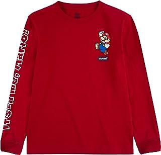 Levi's Boys' Big Long Sleeve Graphic T-Shirt, Black Droid