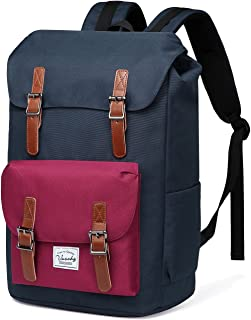 School Backpack,Vaschy Water Resistant Drawstring Laptop Backpack Women for 15.6 inch Laptop Blue Wine