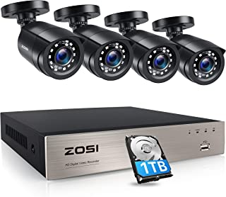 ZOSI 8-Channel 1080P Video Security Camera System,H.265+ DVR Recorder with Hard Drive 1TB and (4) 2.0MP Home/Outdoor Bulle...