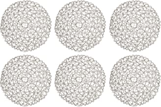 """DII Woven Paper Tabletop Collection Holiday or Event Décor, Reversible Round Placemat Set, 15"""" Dia, Gray 6 Piece"""