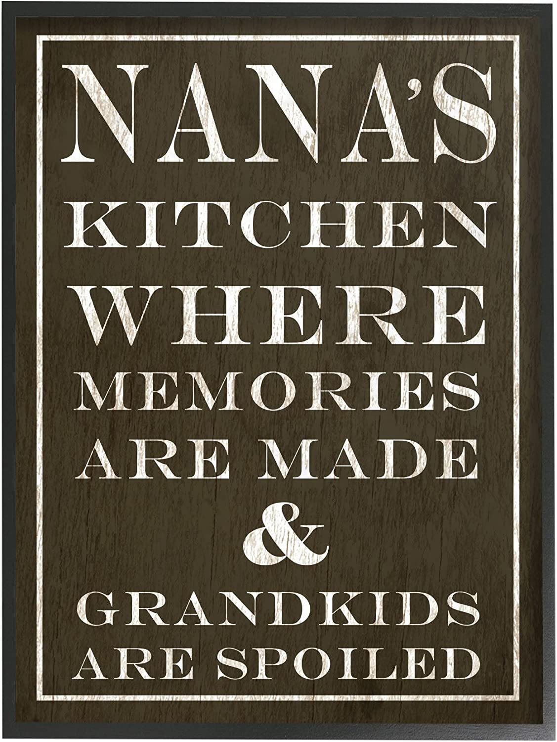 The Stupell Home Decor Collection Nanas Kitchen and Spoiled Grandkids Dark Framed Giclee Texturized Art, 11 x 1.5 x 14, Proudly Made in USA