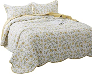 KASENTEX 3 Piece Quilt Set - Contemporary Oversized Bedding with Country-Chic Floral Printed Design, 100% Cotton Soft & Warm Reversible Bedspread (Yellow, Queen + 2 Shams 102x106+20x26 x2)